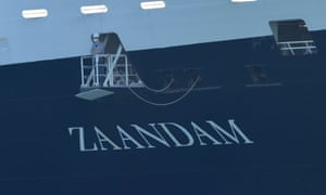 The MS Zaandam is seen after it was cleared to dock in Florida with dead and sick aboard.