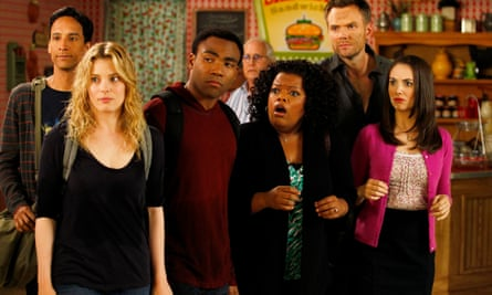 Danny Pudi, Gillian Jacobs, Donald Glover, Yvette Nicole Brown, Joel McHale and Alison Brie in Community.