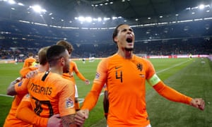Virgil van Dijk celebrates his late equaliser, which took the Netherlands to the Nations League finals at the expense of France.