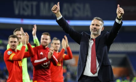 Wales's manager Ryan Giggs thanks the fans after his side had qualified for Euro 2020.