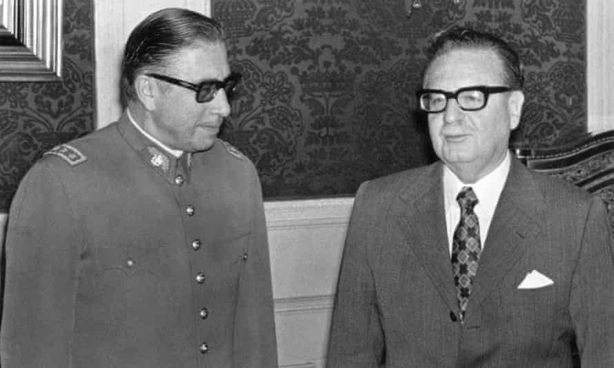Augusto Pinochet (left) poses Allende in August 1973