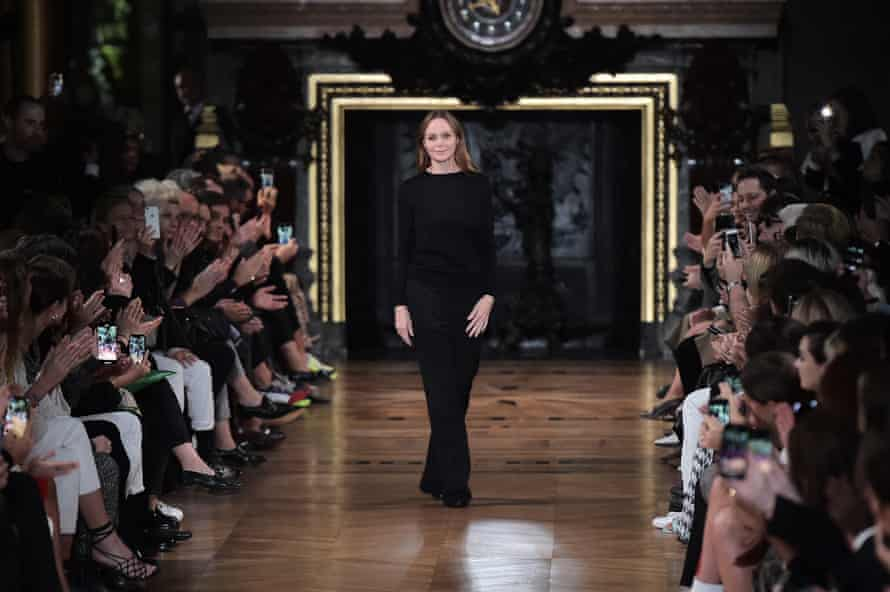 Stella McCartney laps up the applause of the audience after her show.