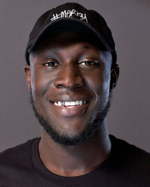 Grime artist Stormzy, photographed in his west London recording studio.