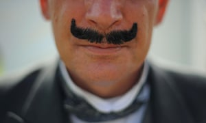 Picture taken by Jim Wileman of a a Poirot look-alike at the Agatha Christie Festival, in Torquay, Devon.