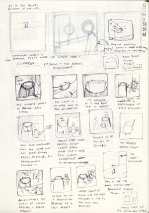 The storyboarding for Cicada. Tan says the book was initially much longer, but he pared it back to generate 'mystery', creating what he says is the 'simplest' book he's ever done.