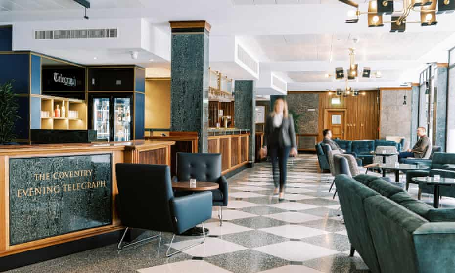 Reception area at Telegraph Hotel, Coventry, UK.
