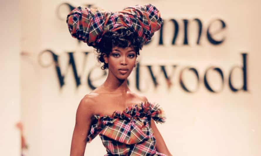 Naomi Campbell in a tartan dress by Vivienne Westwood.