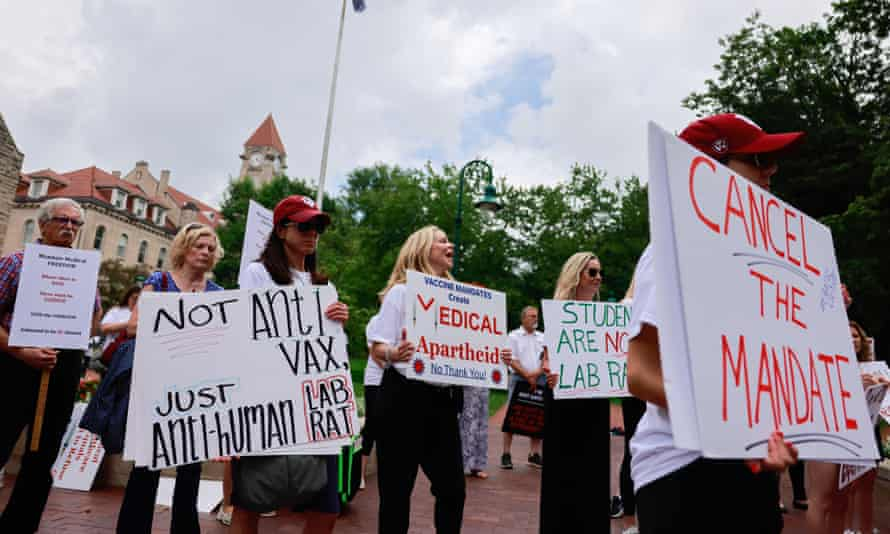 Anti Covid-vaxxers protest at Indiana University in Bloomington, Indiana, on 10 June 2021.