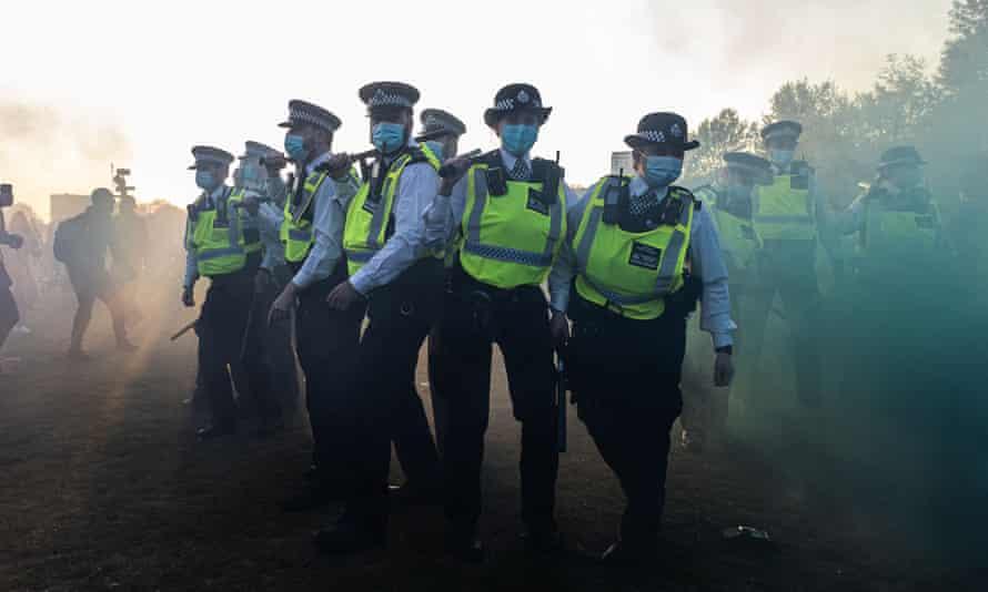 Police at the anti-lockdown protest in London
