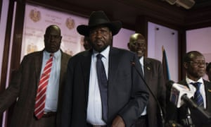 South Sudan's president Salva Kiir, centre, on Friday.