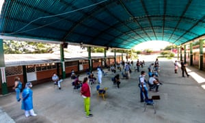 Venezuelans wait in line to get a Covid-19 test at a testing center in Cucuta, on the Colombian border with Venezuela. Colombia has been one of the worst hit countries in Latin America by the pandemic with more than 1.5 million cases and over 40,000 deaths.