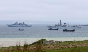 HMS Kent (right) before the Battle of Jutland commemorations.