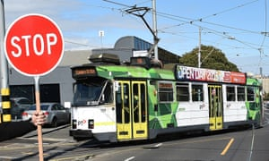 A tram in Melbourne, which has the largest urban tramway system in the world.