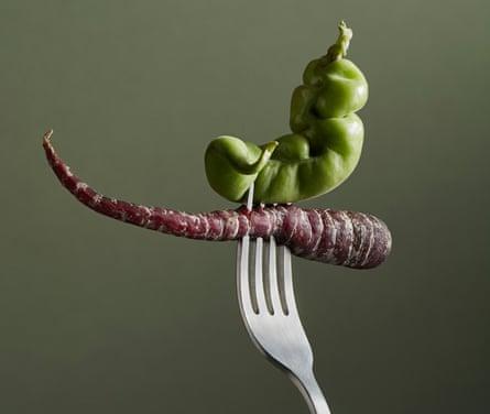 Wonky vegetables on a fork
