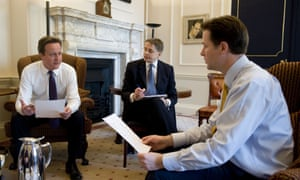 Former prime minister David Cameron with Jeremy Heywood and former deputy prime minster Nick Clegg at No 10 Downing Street.