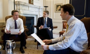 David Cameron, Jeremy Heywood and Nick Clegg at No 10 Downing Streetin the early days of the coalition
