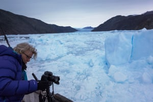 The effects of climate change can be seen in glaciers worldwide. Across the whole of Greenland as temperatures rise the glaciers break up releasing more icebergs into the fjords making navigation via the water more difficult and access to glacier fronts logistically challenging.