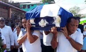 Ángel Gahona's funeral in Bluefields.