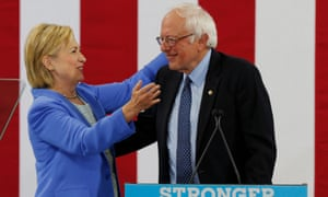 Hillary Clinton and Bernie Sanders appear together in Portsmouth, New Hampshire, in July 2016.