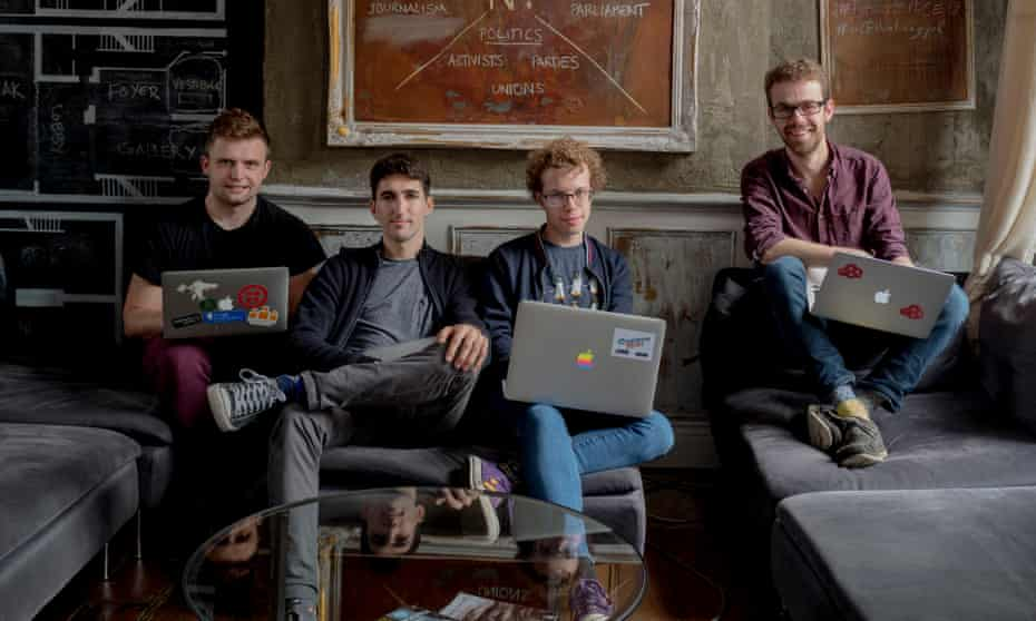 'The government registration gateway was tedious …' Matt Morley (far left) and Jeremy Evans (far right), with collaborators Jay Baykara and Josh Balfour in Newspeak House.