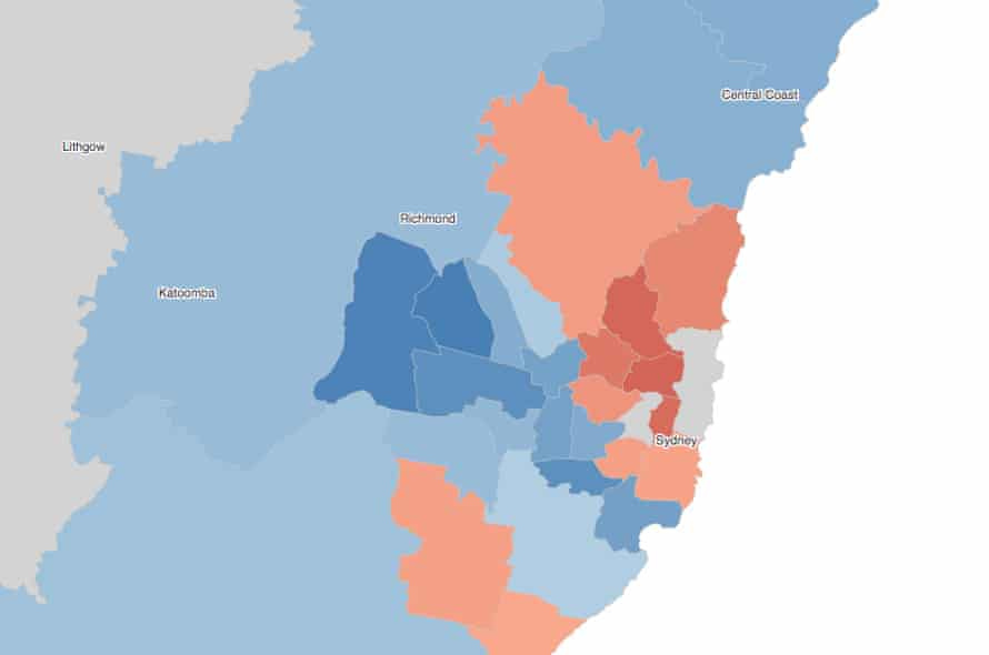 Two-party-preferred swing by electorate, showing the Sydney region