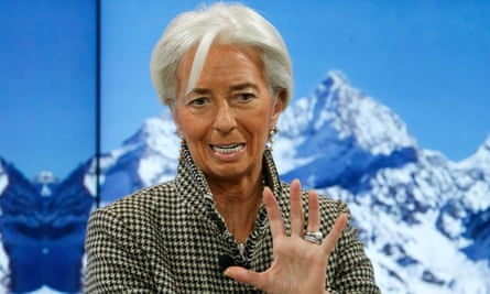 The IMF's Christine Lagarde speaking on a panel on the middle classes at the World Economic Forum in Davos.