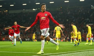 Mason Greenwood celebrates after scoring his first senior goal for Manchester United which clinched victory against Astana.