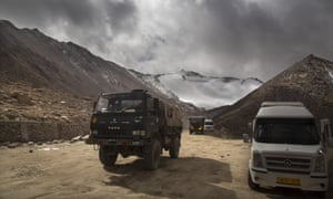 An Indian army lorry near Pangong Lake in Ladakh in 2018