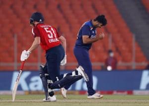 India's Shardul Thakur celebrates the wicket of England's Jonny Bairstow.