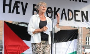 Margrete Auken speaks during a protest about Gaza in Denmark in 2014
