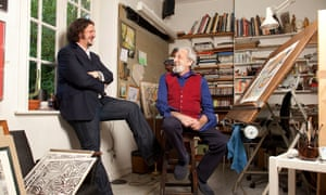 Jay Rayner and his father Des Rayner in Des's studio, Harrow, London Desmond Rayner