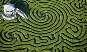 Lost in the maze ... an aerial view of the hedge maze at Longleat.