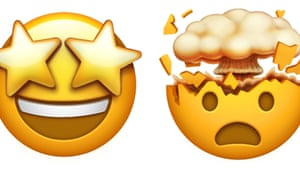 Star-eyed and exploding head Apple emojis