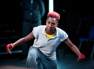 Jade Anouka as Hotspur in Henry IV, part of the Donmar Shakespeare Trilogy at King's Cross theatre, London, 2016.