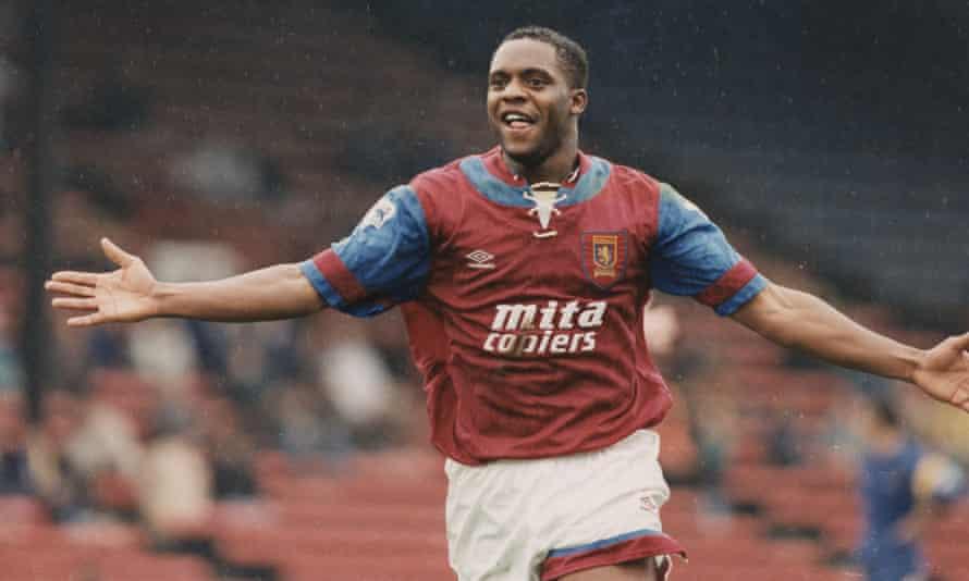 Dalian Atkinson celebrates after scoring a goal for Aston Villa.