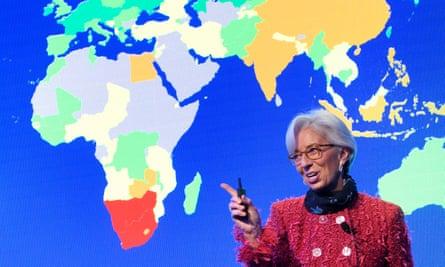 Christine Lagarde speaks at the World Economic Forum in Davos in 2018