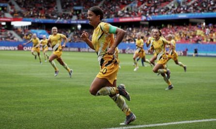 Australia's Sam Kerr and teammates on the field against Italy in last year's Women's World Cup