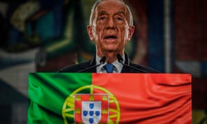Marcelo Rebelo de Sousa delivers his victory speech in Lisbon after being re-elected as Portugal's president on Sunday.
