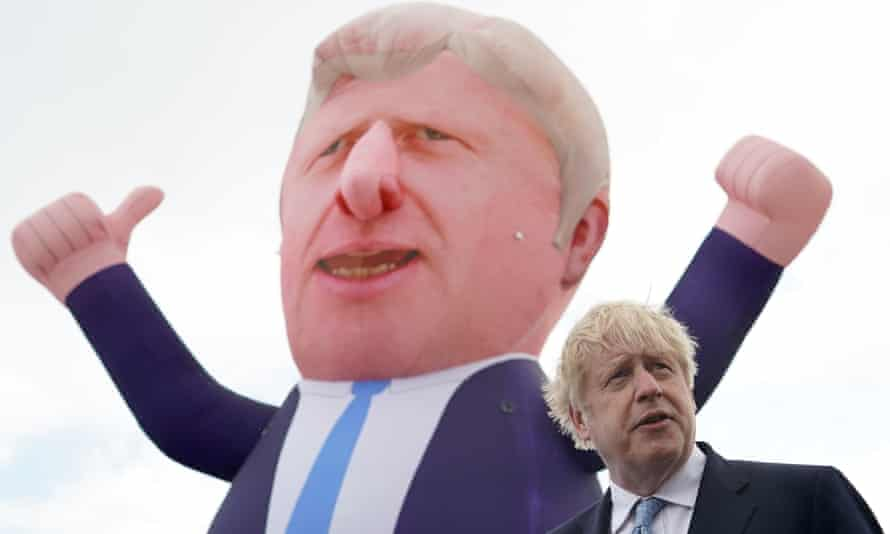 'Mr Johnson's woeful lack of consistency is being resolved slowly by Brexit.' Boris Johnson with a blimp in Hartlepool on 7 May.