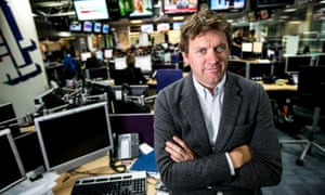 Ben de Pear in his underground office at ITN in London.