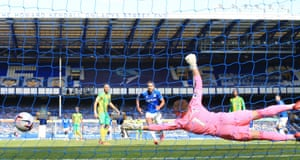 James Rodriguez drives in Everton's second goal past Sam Johnstone.