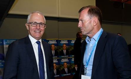 Prime minister Malcolm Turnbull and former prime minister Tony Abbott at the NSW Liberal Party Futures convention in 2017.