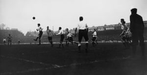 The Spurs defence clear their lines during their 2-1 defeat to Sunderland at White Hart Lane in January 1913.