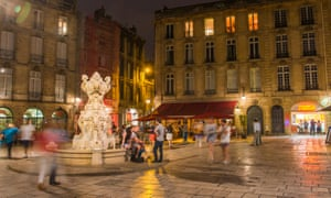 Night time shot of an illuminated square in Bordeaux. Bordeaux is France's second-favourite city after Paris.
