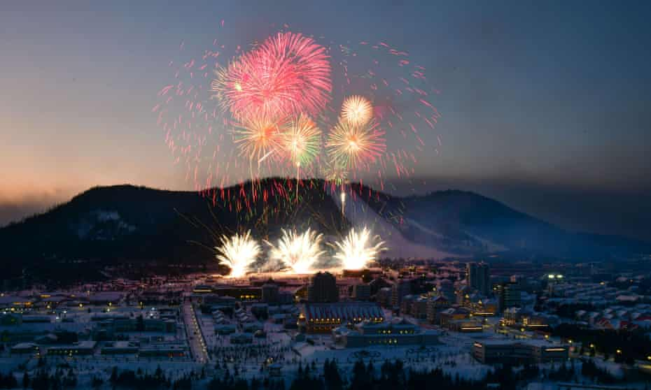 Fireworks mark the opening of the Samjiyon County township in North Korea.