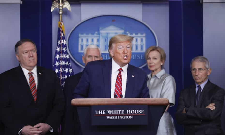 Donald Trump speaks during a news conference with Mike Pompeo, Mike Pence, Dr Deborah Birx and Dr Anthony Fauci.