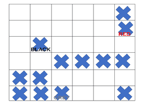 Each cross eliminates a square