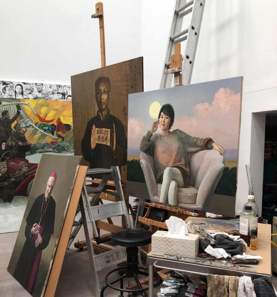 Paintings in Shen Jiawei's studio in Bundeena