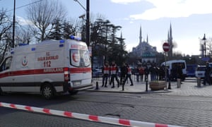 An ambulance arrives at the scene in the Sultanahment district, Turkey.