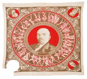 Nikolai Demkov's Kerchief with portrait of Lenin in the Centre and Trotsky's Corner Portrait Cut Out, 1924.